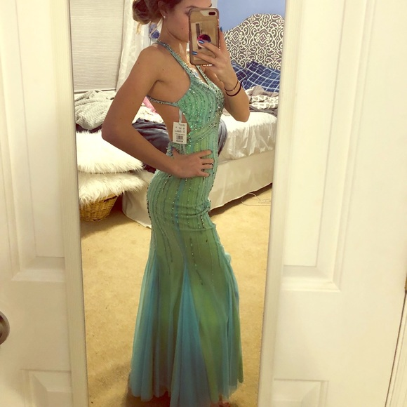 Xxs Green And Blue Prom Dress